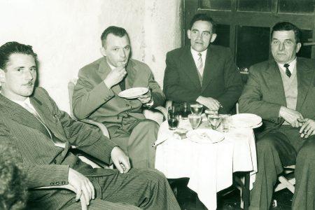 Gran Turismo Konferenz in Triest 1955, Konzessionär Camerotto von den FFSS, Ing. J. Oberhollenzer und Antonio Tralli